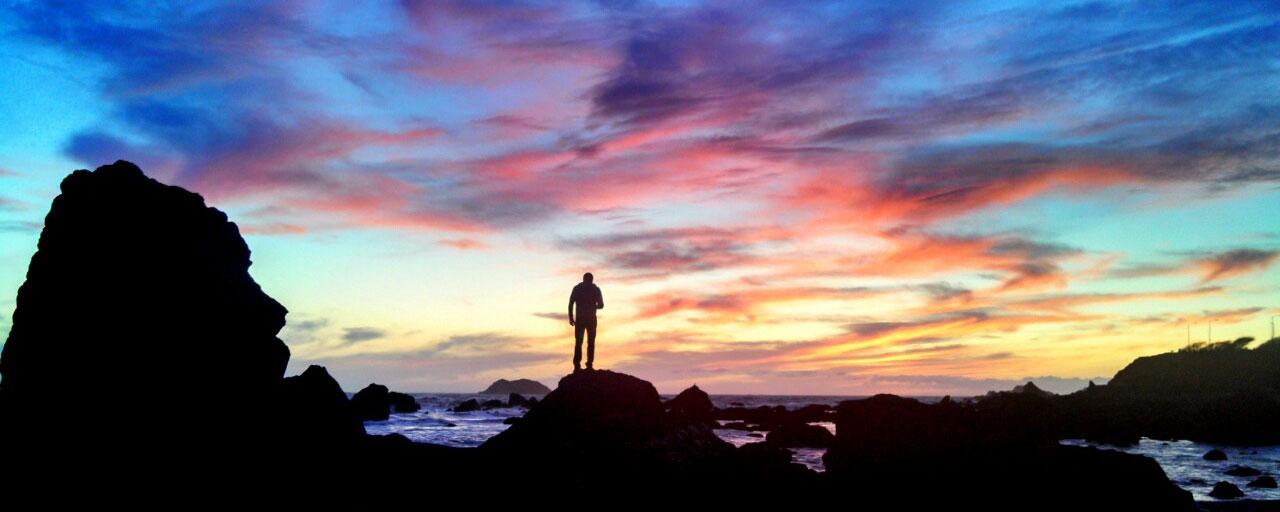 Silhouette sunset in Eureka, CA